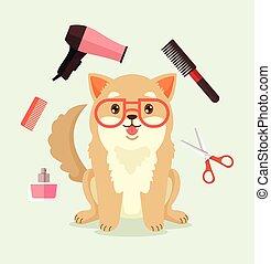 幸せ, ベクトル, 漫画, grooming., 犬, 平ら, character., イラスト