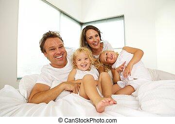 幸せ, ベッド, 家族, 寝室