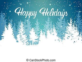 幸せ, ホリデー, 冬, 山, 森林, 風景, 背景, 松, 雪, 木, 森