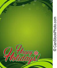 幸せ, ホリデー, 印, 緑の背景