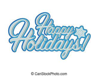 幸せ, ホリデー, 印, 青, 雪片, 背景