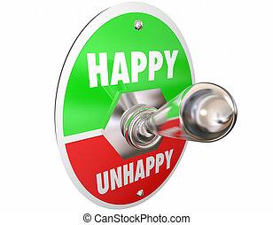 幸せ, ムード, スイッチ, 不幸, 悲しい, 回転, トグル, ∥対∥, イラスト, 感情, 3d
