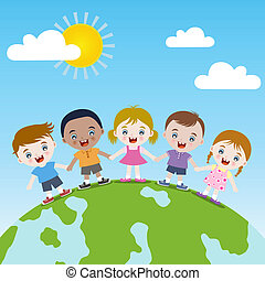 幸せ, 一緒に, 地球, 子供