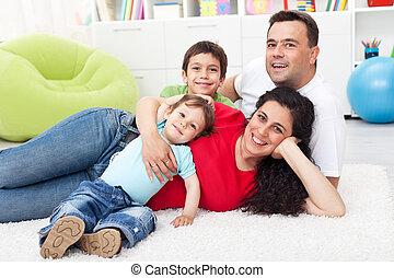 幸せ, 一緒に, 家族, 床