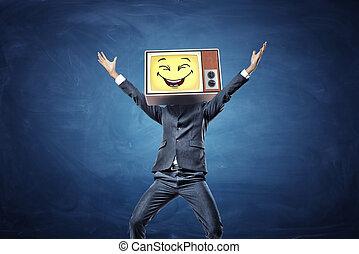 幸せ, 上げられた, 彼の, tv, 手, smiley, 黄色の額面, ビジネスマン, レトロ, head., instead, 持つ, 勝利