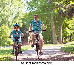 幸せ, 乗車, 自転車, 父, 息子