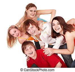 幸せ, 人々。, 若い, グループ