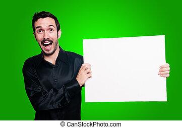 幸せ, 人, 保有物, ブランク, 白人の委員会, 上に, 緑, backgroud