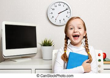 幸せ, 仕事場, 背景, 本, 女生徒, 小さい子供, 開いた, 手。, 彼女, 口, 女の子