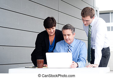 幸せ, 仕事, ビジネス チーム, 中に, 現代, オフィス