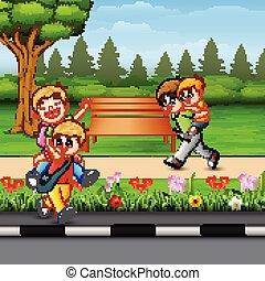 幸せ, 公園, 子供たちが遊ぶ