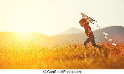 幸せ, 動くこと, 子供, 女の子, 牧草地, 夏, 凧