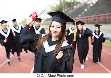 幸せ, 卒業, 生徒, ∥で∥, 卒業証書, 屋外で
