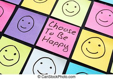 幸せ, 印, 動機づけ, ありなさい, 選びなさい, sheet.