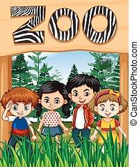 幸せ, 印, 子供, 動物園