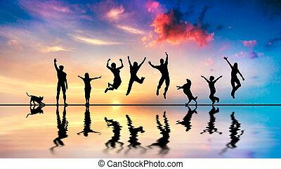 幸せ, 友人, 家族, ∥で∥, 犬, そして, ねこ, 跳躍, ∥において∥, 日没