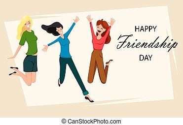 幸せ, 友情, 日, カード, 挨拶