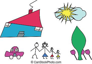 幸せ, 図画, 家族, 子供