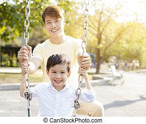 幸せ, 変動, 父, 遊び, 息子