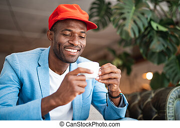 幸せ, 大袈裟な表情をしなさい, 飲料, 人, 味が分かる