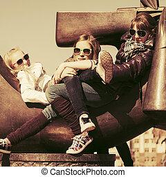 幸せ, 女の子, グループ, 十代