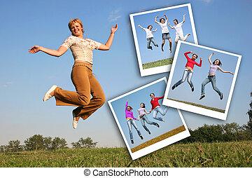 幸せ, 女の子, ジャンプする, 上に, 草, そして, 写真, の, jumpimg, 女の子, コラージュ