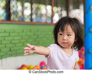 幸せ, 女の子, ボール, アジア人, 遊び