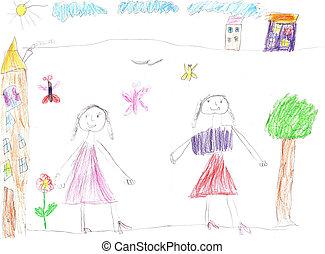 幸せ, 女の子, 図画, 子供