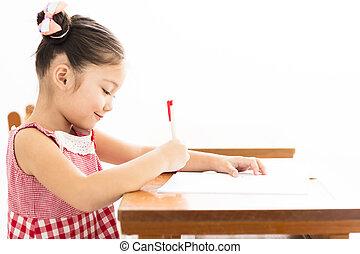 幸せ, 女の子, 執筆, 机, 中に, 教室