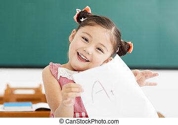 幸せ, 女の子, 提示, 試験, ペーパー, ∥で∥, プラス, 中に, 教室