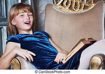 幸せ, 女の子, 本, 椅子, モデル