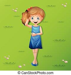 幸せ, 女の子, 草 に あること