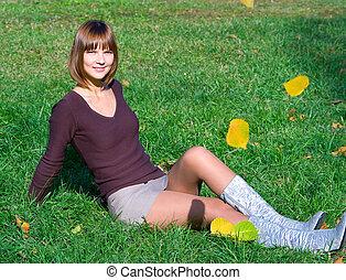 幸せ, 女の子, 草, 緑