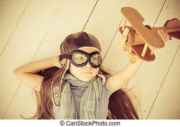 幸せ, 子が遊ぶ, ∥で∥, おもちゃの 飛行機