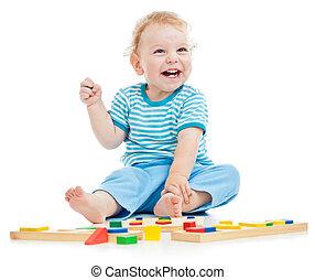 幸せ, 子が遊ぶ, 隔離された, 白