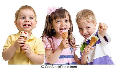 幸せ, 子供, ∥あるいは∥, 子供, グループ, ∥で∥, アイスクリーム, 隔離された, 白