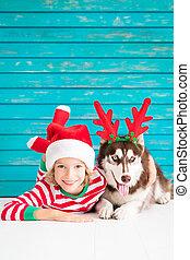 幸せ, 子供, そして, 犬, 上に, クリスマスイブ