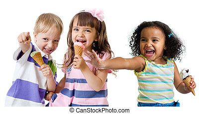 幸せ, 子供, グループ, 食べること, アイスクリーム, 隔離された, 白