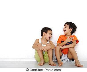 幸せ, 子供, モデル, 家で, 屋内