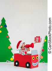 幸せ, 子供, 上に, クリスマスイブ