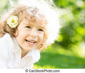 幸せ, 子供, 中に, 春
