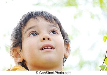 幸せ, 子供, 中に, 自然, 屋外
