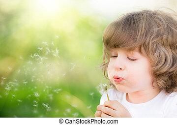 幸せ, 子供, 吹く, タンポポ