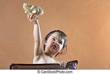 幸せ, 子供, 女の子, 遊び, ∥で∥, おもちゃの 飛行機