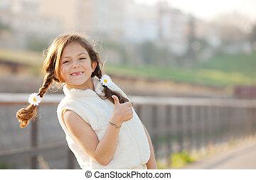 幸せ, 子供, 微笑, の上, 親指