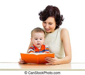幸せ, 子供, 本, 読書, 母