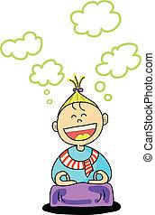 幸せ, 子供, 練習, 瞑想, 漫画, hand-drawn