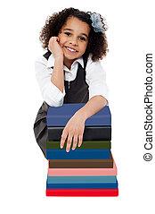 幸せ, 学校の 女の子, ∥で∥, 本の山