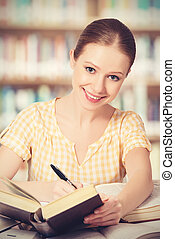 幸せ, 学生, 女の子の読書, 本