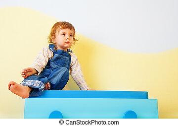 幸せ, 家具, 子供, モデル
